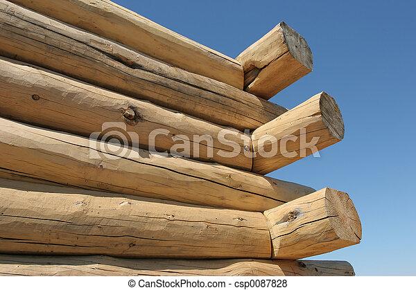 log home under construction - csp0087828