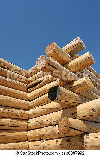 log home under construction - csp0087992