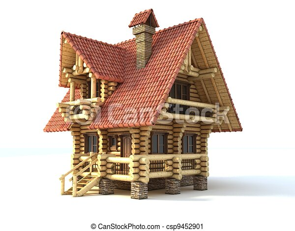 log house 3d illustration isolated - csp9452901
