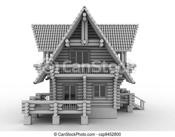 log house on white - csp9452800