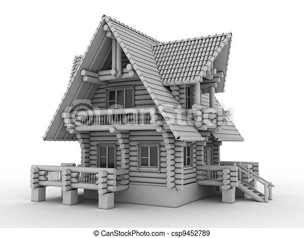 log house on white - csp9452789