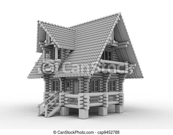 log house on white - csp9452788