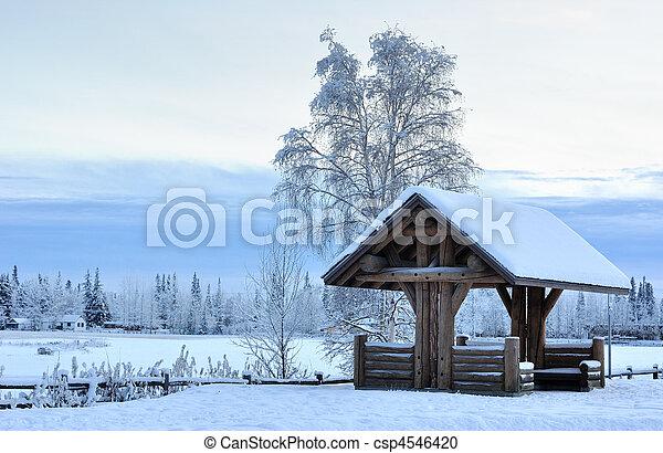 Log Pavilion in Alaska during the Winter - csp4546420