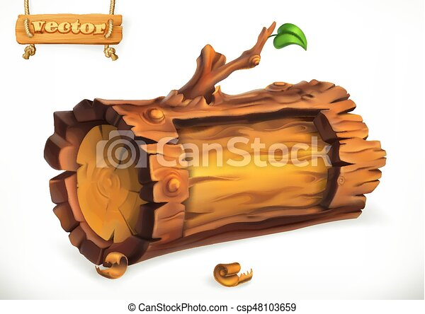 Log, wooden sign. 3d vector icon - csp48103659