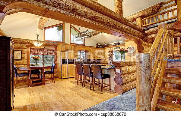 Logboek woning het dineren interieur keuken cabine kamer