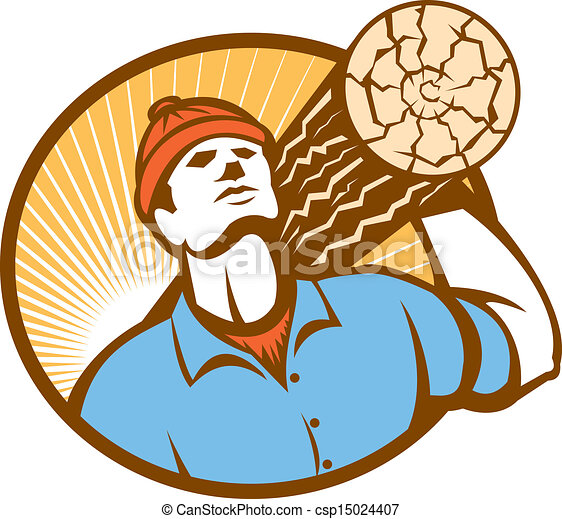 Logger Forester Carry Log Retro - csp15024407