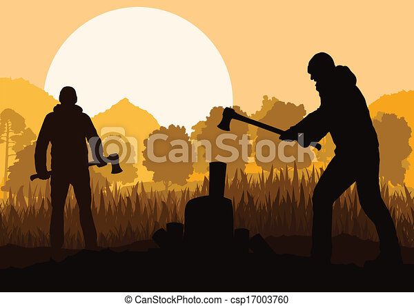 Loggers with axes in wild mountain forest nature landscape  - csp17003760