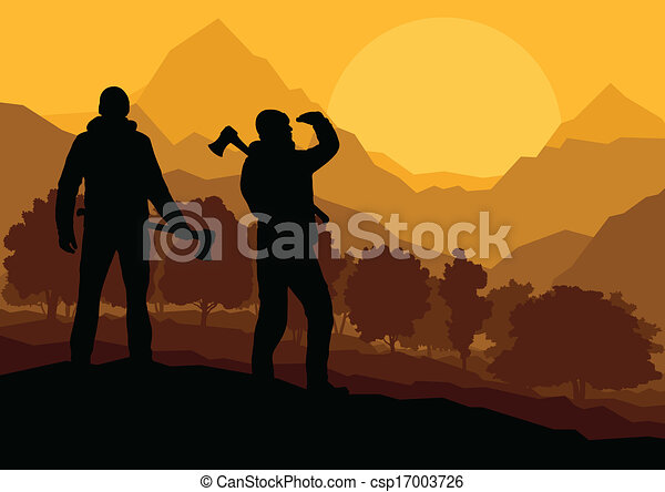 Loggers with axes in wild mountain forest nature landscape - csp17003726