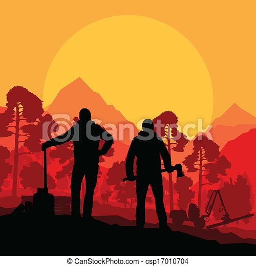 Loggers with axes in wild mountain forest nature landscape  - csp17010704