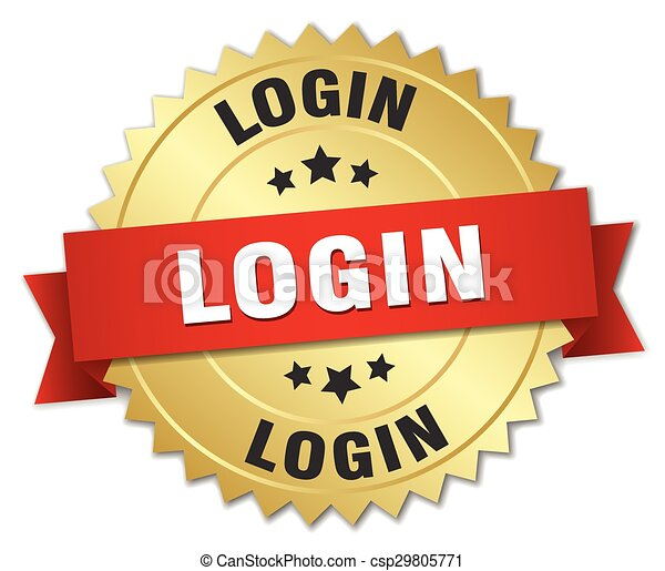 login 3d gold badge with red ribbon - csp29805771