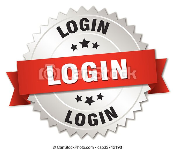 login 3d silver badge with red ribbon - csp33742198