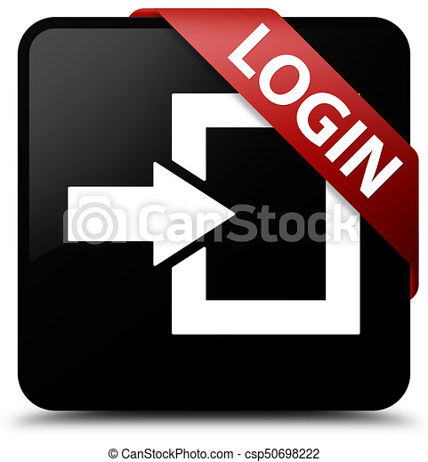 Login black square button red ribbon in corner - csp50698222