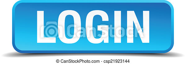 Login blue 3d realistic square isolated button - csp21923144