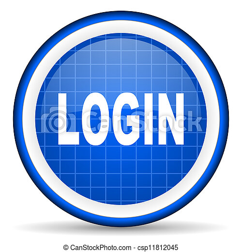 login blue glossy icon on white background - csp11812045