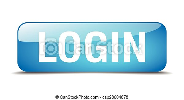 login blue square 3d realistic isolated web button - csp28604878