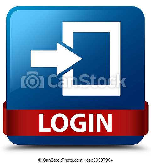 Login blue square button red ribbon in middle - csp50507964