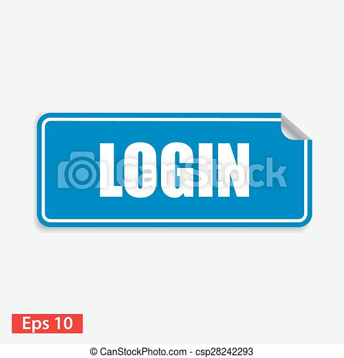 login blue square sticker isolated on white - csp28242293