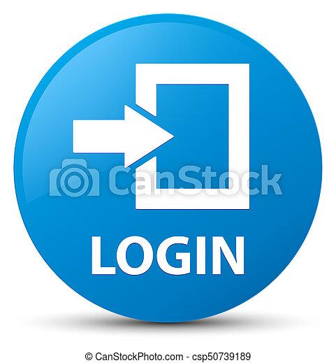 Login cyan blue round button - csp50739189