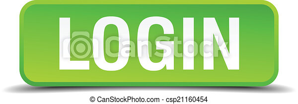 Login green 3d realistic square isolated button - csp21160454