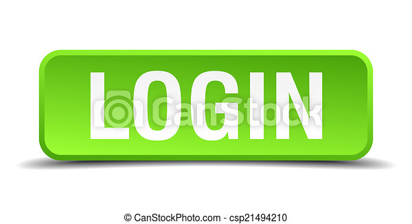 Login green 3d realistic square isolated button - csp21494210
