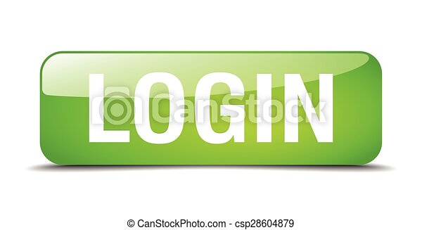 login green square 3d realistic isolated web button - csp28604879