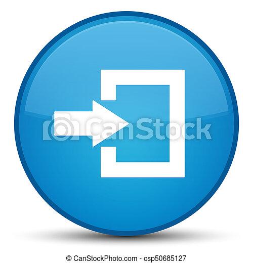 Login icon special cyan blue round button - csp50685127
