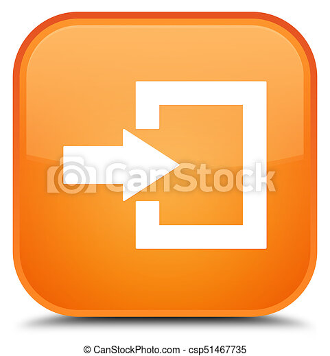 Login icon special orange square button - csp51467735