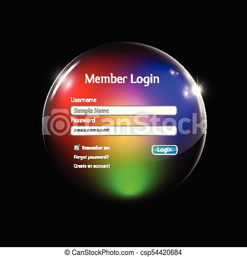 Login interface in a colorful sphere - csp54420684