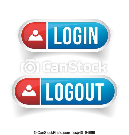 Login Logout button set vector - csp40194696