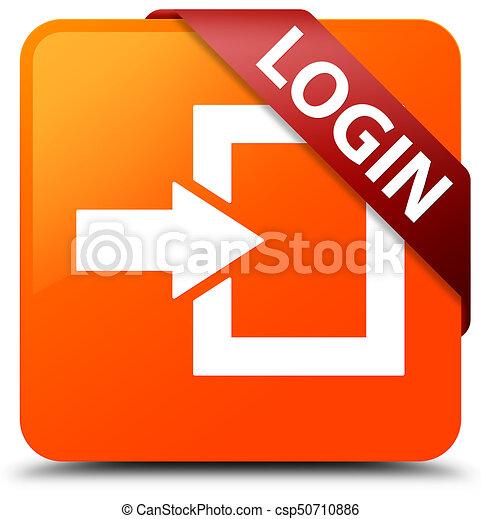 Login orange square button red ribbon in corner - csp50710886
