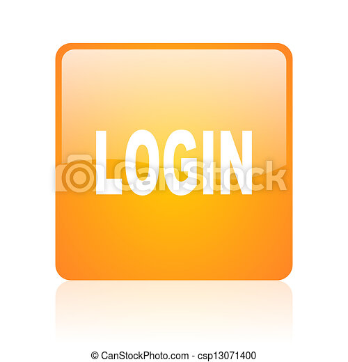 login orange square glossy web icon - csp13071400