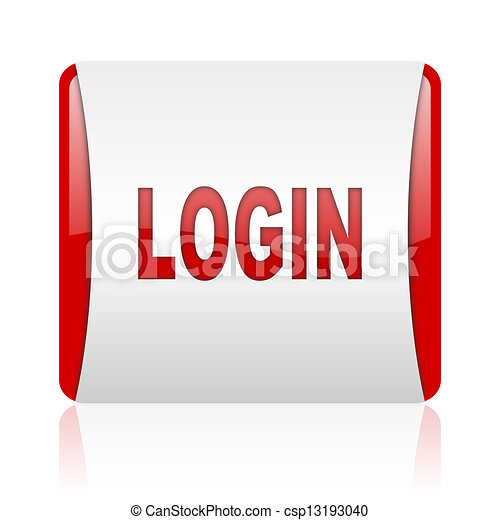 login red and white square web glossy icon - csp13193040