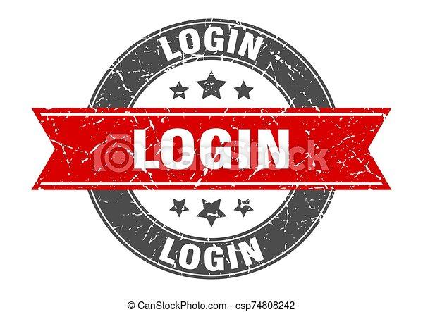 login round stamp with red ribbon. login - csp74808242