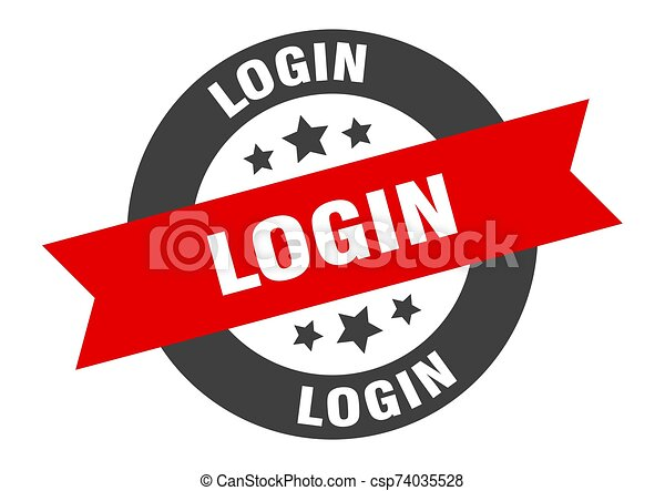 login sign. login black-red round ribbon sticker - csp74035528
