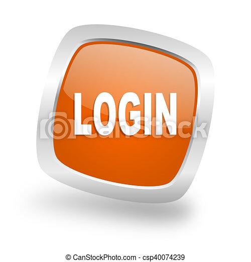 login square orange glossy chrome silver metallic web icon - csp40074239