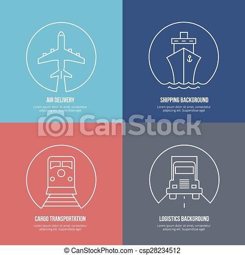 Logisitk, ladung, schiffahrt, auslieferung, icons., linie ...