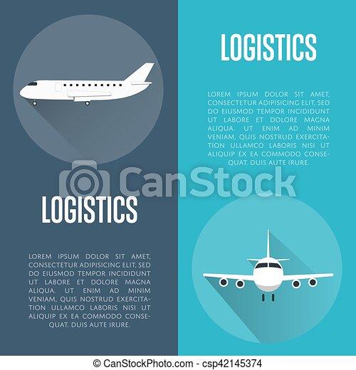 Logistik Banner mit Flugzeug - csp42145374