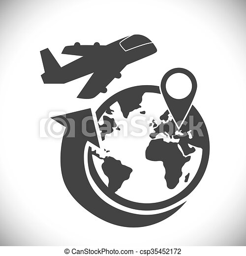 Logistic and airplane icon design - csp35452172