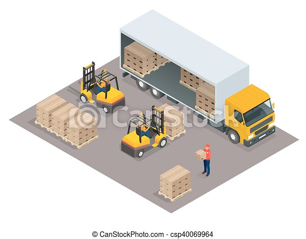 Logistics concept. Loading cargo in the truck. Delivery service vector isometric illustration. - csp40069964