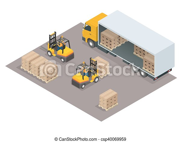 Logistics concept. Loading cargo in the truck. Delivery service vector isometric illustration. - csp40069959