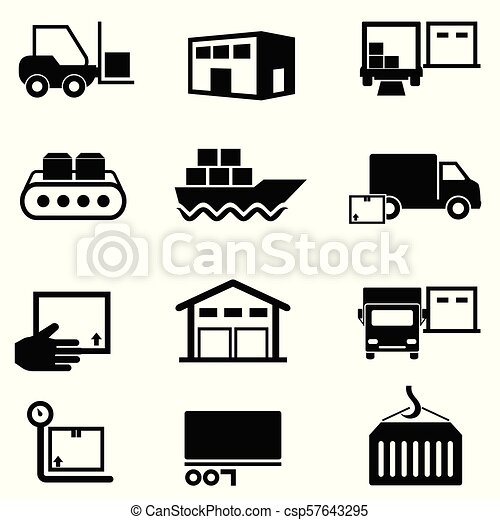 Logistics Supply Chain Distribution Warehousing And Shipping Icons