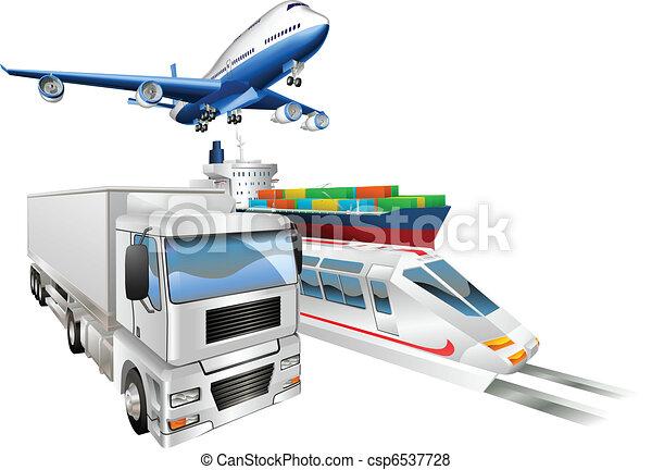 logistiek, lading, concept, trein, vrachtwagen, vliegtuig, scheeps  - csp6537728