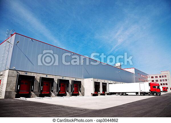 logistique, bâtiment, camion - csp3044862
