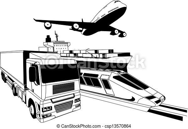 logistique, cargaison, transport, illustration - csp13570864