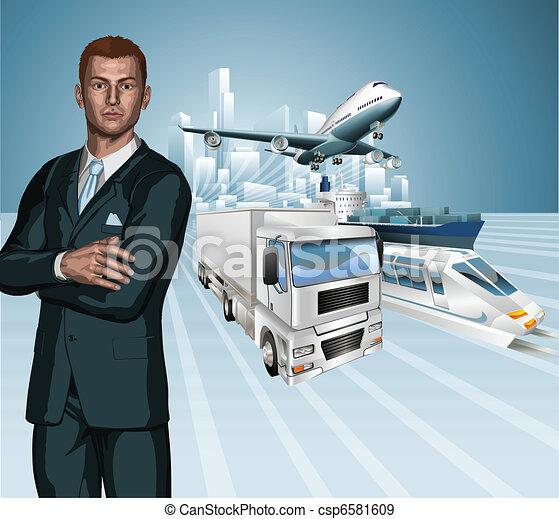 logistique, concept, dos, homme affaires - csp6581609