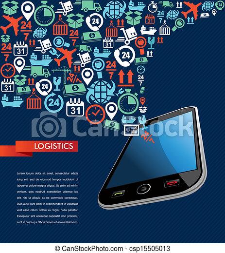 logistique, illustration., icônes, mobile, texte, app, expédition, éclaboussure - csp15505013