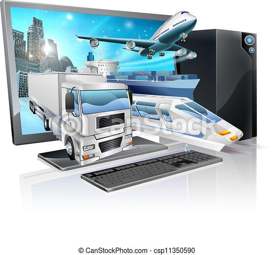 logistique, pc, concept, bureau - csp11350590