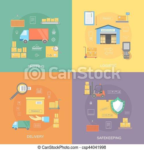 logistique plat ensemble service livraison exp dition vecteurs eps rechercher des. Black Bedroom Furniture Sets. Home Design Ideas