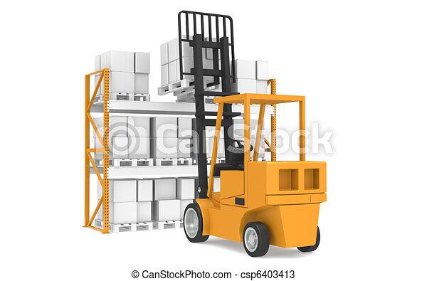 logistique, series., pallet., partie, entrepôt, dernier - csp6403413