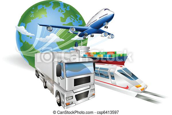 logisty, pojęcie, globalny, pociąg, wózek, samolot, statek - csp6413597
